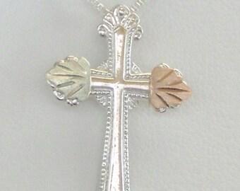 Whitaker's Black Hills Gold on Silver Lovely Cross Pendant