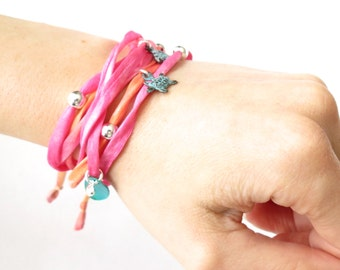 Hot pink & orange Habotai silk ribbon wrap bracelet 'Seashore' with sterling silver beads and shell, turtle and heart charms, multiple wrap