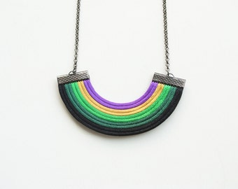 Geometric necklace, multicolor necklace, black and green necklace, satin cord necklace, colourful necklace, minimal necklace,  gift for her
