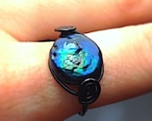 Iridescent Coin Pearl Ring - Blue, Green, Purple and Black - Wire Wrapped Ring - Rainbow Pearl