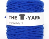The t-shirt yarn 120-135 yards, 100% recycled cotton tricot yarn, blue 119