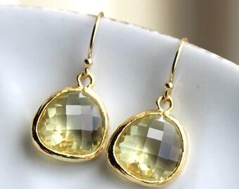 Citrine Earrings Gold - Glass Yellow Earrings - Bridesmaid Earrings - Bridal Earrings - Wedding Earrings