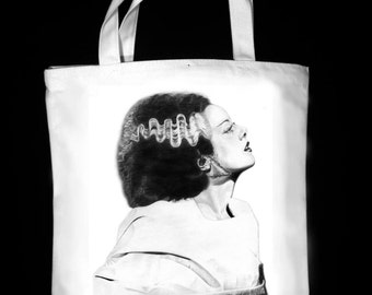 "Frankenstein's Bride 13"" x 13"" CanvasTote Bag - Original Graphite Portrait"