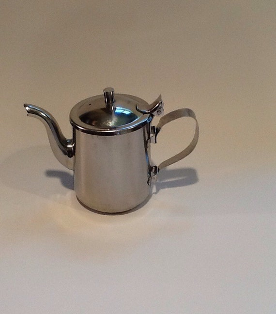 Vintage Stainless Steel Teapot Individual Serving Teapot