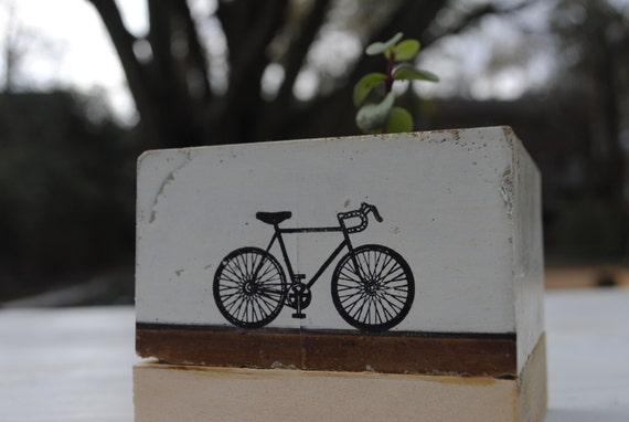 Concrete Planter- Bike, Cyclist, Wedding Gift, Housewarming Gift, Functional Art, Reclaimed Wood, Gift under 25