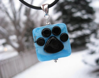 Blue Paw Print Pawprint Lampwork Glass Beads Sterling Silver Cat Dog Necklace Pendant Jewelry