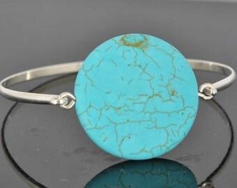 Turquoise Bangle, Sterling Silver Bangle, Turquoise Bead Bangle, Wire Bangle