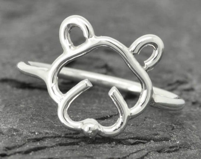 Dog ring, dog face ring, cute dog, 925 sterling silver, doggy, Bridesmaid Gift, Maid of honor gift