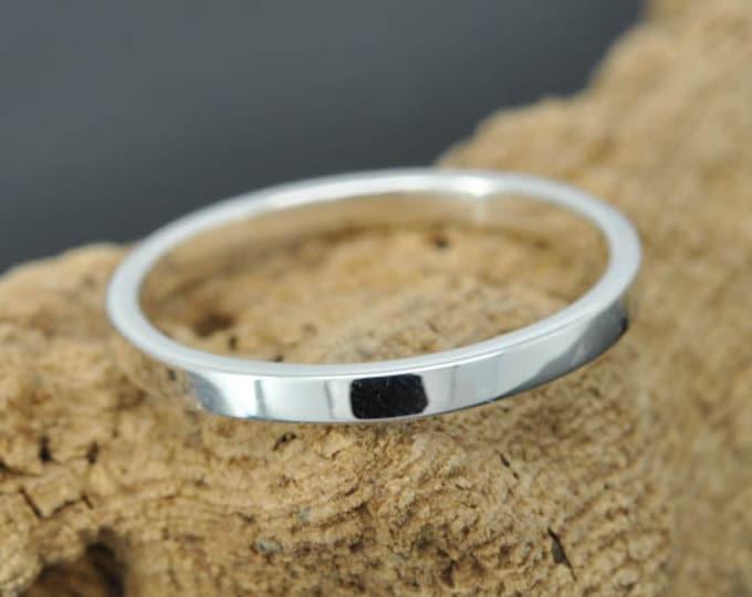 14K palladium white gold ring, 1mm, flat, wedding band, wedding ring, square, mens ring,  size up to 6