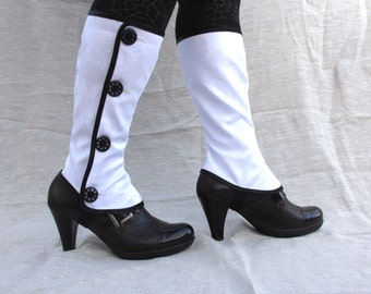 Tall spats waterproof with buttons victorian steampunk spat bootcover waxed fabric