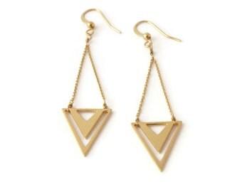 Earrings Isocele brass gold filled 24k