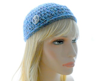 Wool - Blend Hat, Women's Crochet Hat, Blue and Silver Hat, Extra Small to Medium Size