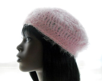 Women's Fluffy Vegan Crocheted Beret in Pale Pink, Extra Small to Medium Size