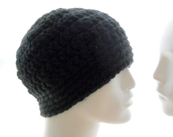 Wool Blend Crocheted Hat Mens Black Bulky Yarn by HatsbyElvee