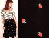 vintage velvet skirt // strawberry embroidery