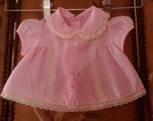 70s pink frilly newborn / doll dress