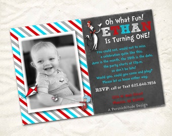 cat in the hat first birthday invitation printable file