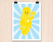 "Lego 9x12"" Hello SpaceBoy Yellow (Color Print)"