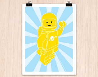 "Lego 9x12"" Hello SpaceBoy Yellow (Color Print)"