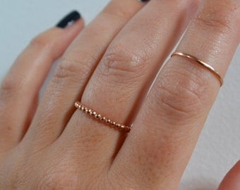 Gold Beaded Stacking Ring, Simple Rose Gold Ring, Minimal Thin Gold Filled Ring, Stackable Band Ring, made to order