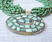 Oval Mosaic Turquoise Pendant Necklace, Multi strand green seed beads Boho Necklace, Natural turquoise, Hippie Gypsy, Green Bib necklace