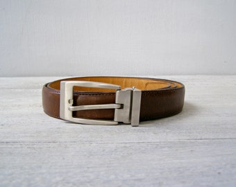Vintage Mans dress Italian Brown leather Belt, Casual Elegant Office classic accessories for him, Hipster Urban mens accessories, size 46 XL