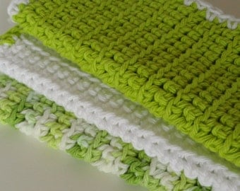 Crocheted Cotton Washcloths Dishcloths Gift under 20 dollars Set of 3 Lime Green White Variegated