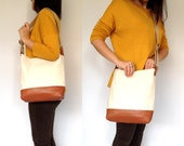 Leather & Canvas Tote Bag Eco Natural Canvas Brown Leather Cotton Straps
