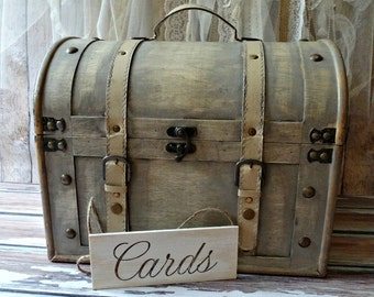 XL-LARGE-trunk-wood-distressed-vintage inspired-card sign-treasure chest-suitcase-card holder-card box-wedding trunk