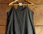 organic cotton voile racer back tank black