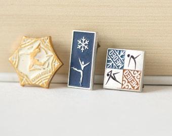 Little tiny Soviet sport pins, hello winter pins, gymnastics pin, skate pin in Russian, snowflake design pin, keepsakes gift, Xmas mood