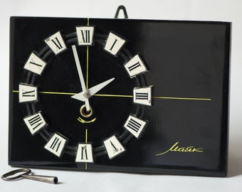 Wall clock, black white wooden clock, mechanical Lighthouse clock, minimalist modern clock, rectangular clock rare, working clock home decor