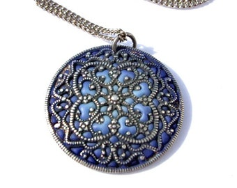 Dark blue necklace /silver mandala / Victorian pendant / round pendant / flower mandala / mystic jewelry  /filigree necklace / blue silver