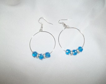 New Dangling Hoop Earrings With Blue and White Lampwork Beads & Clear Crystal