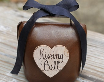 Wedding Kissing Bell Rustic Shabby Chic Custom Ribbon Color