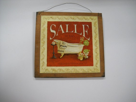 Salle de bain bathroom sign spa bath by littlestoreofhomedec for Salle de bain door sign