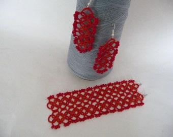 Red tatting earrings and bracelet - Handmade jewerly - gift for her - Weddings