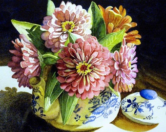 "Print of Original Art Watercolor Painting Zinnias in Teapot 5""X7"" Matted 8""X10"""
