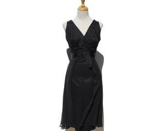 Black Silk and Chiffon Cocktail Party Dress