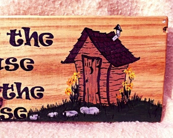 Outhouse Bath Decor Hand Painted On Reclaimed Pallet Wood