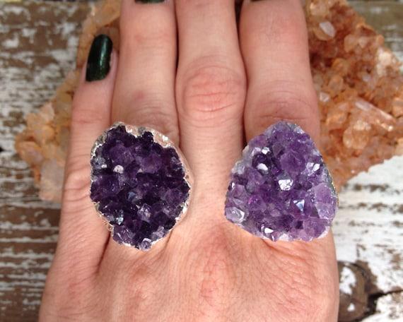 NIGHT DIAMONDS / Raw Stone Purple Amethyst Crystal Druzy Gemstone Cluster Statement Cocktail Ring Adjustable Silver, Summer, Boho, Gypsy