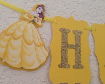 Belle birthday banner, princess belle banner, beauty and the beast birthday banner