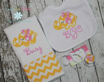 Personalized Baby Gift Set - Personalized Burp Cloth, Pacifier Clip and Bib,
