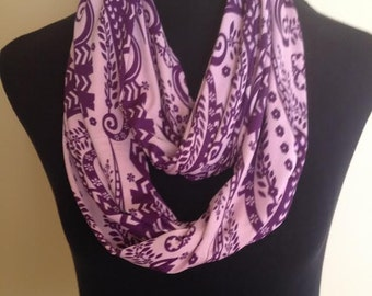 New Fun Flower and Leaf Design Purple and Light Pink Infinity Stretch Scarf