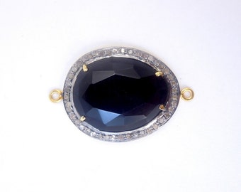 Black Onxy Oval Cabochon Double Bail Connector Pendant in a Gold Vermeil and Pave DIAMOND Setting (EX1-20-02)