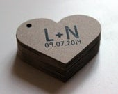 Heart Tags Personalized with Names Initials or Quote of Your Choice Size 2 inch -  50 Kraft Brown Tags