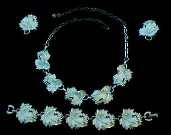SARAH COVENTRY Enameled Leaf Parure, Necklace, Earring, Bracelet
