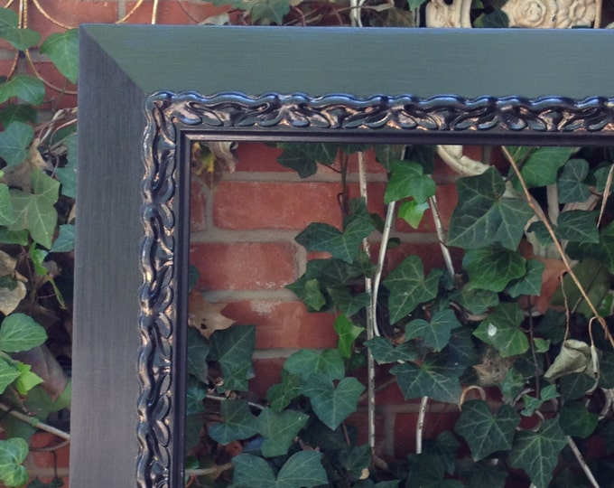 FRAME - holds 27 x 27 Painted Black Lovely Scroll Work Wood frame