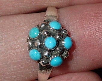 Zuni Turquoise dome Sterling Silver Ring