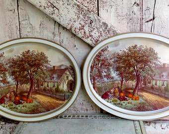 Metal Trays Oval Currier & Ives Serving  set of two vintage Tea Coffee Tray Autumn scene